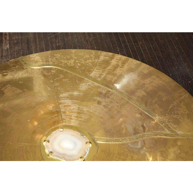 Spectacular Round Etched Brass and Agate Cocktail Table For Sale In New York - Image 6 of 10