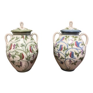 Laurence McGowan England Avian Stoneware Lidded Ginger Jars - A Pair