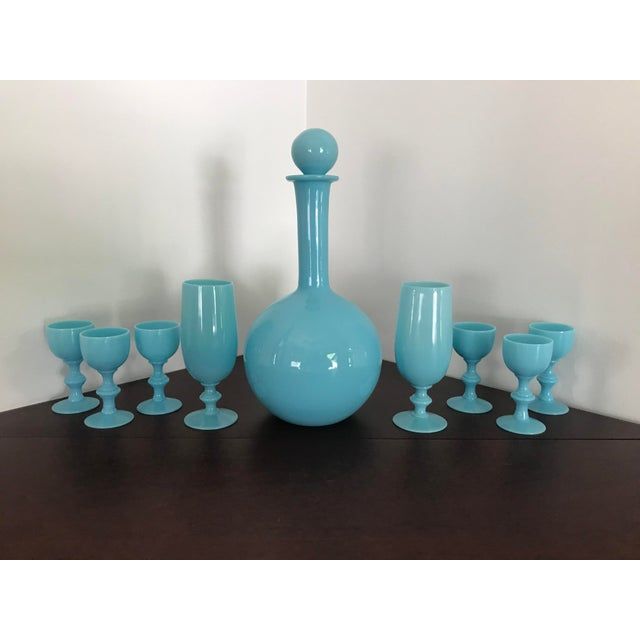 Early 20th Century French Blue Opaline Decanter & Cordial Goblets Glassware by Portieux Vallerysthal - Set of 9 For Sale In Providence - Image 6 of 10