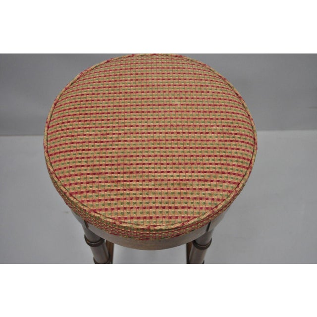 Vintage Chinese Chippendale Style Mahogany Faux Bamboo Counter Bar Stool For Sale In Philadelphia - Image 6 of 11