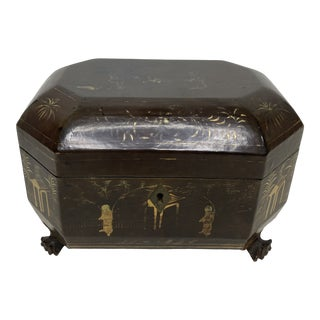 Antique Chinese Export Lacquered Tea Caddy For Sale