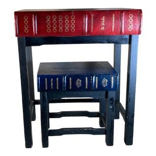 Vintage 1960s Faux Books Nesting Tables - 2 Pieces For Sale
