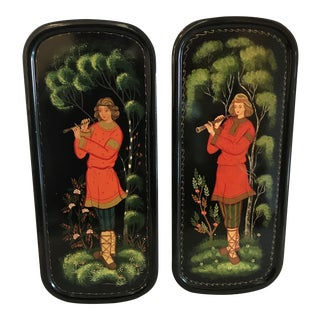 Russian Hand Painted Wall Panels - a Pair For Sale
