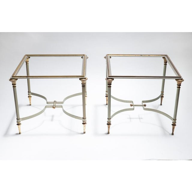 Maison Jansen Steel & Brass Side Tables- A Pair - Image 2 of 8