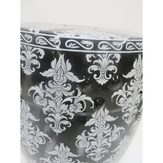 Chinese Black & Silver Leaf Garden Stool For Sale - Image 4 of 5