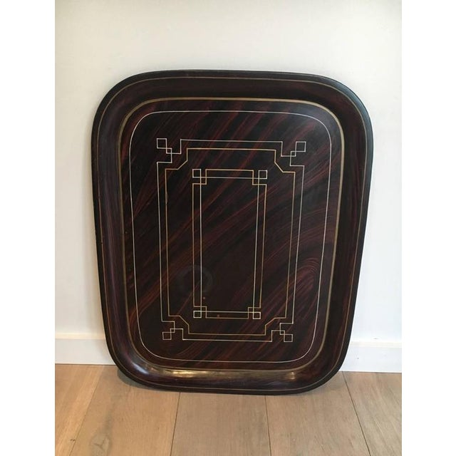 French Brass Tray Table with a Lacquer and Gold Metal Top For Sale - Image 9 of 11