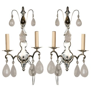 Silver Plated Bronze Rock Crystal Sconces - a Pair For Sale