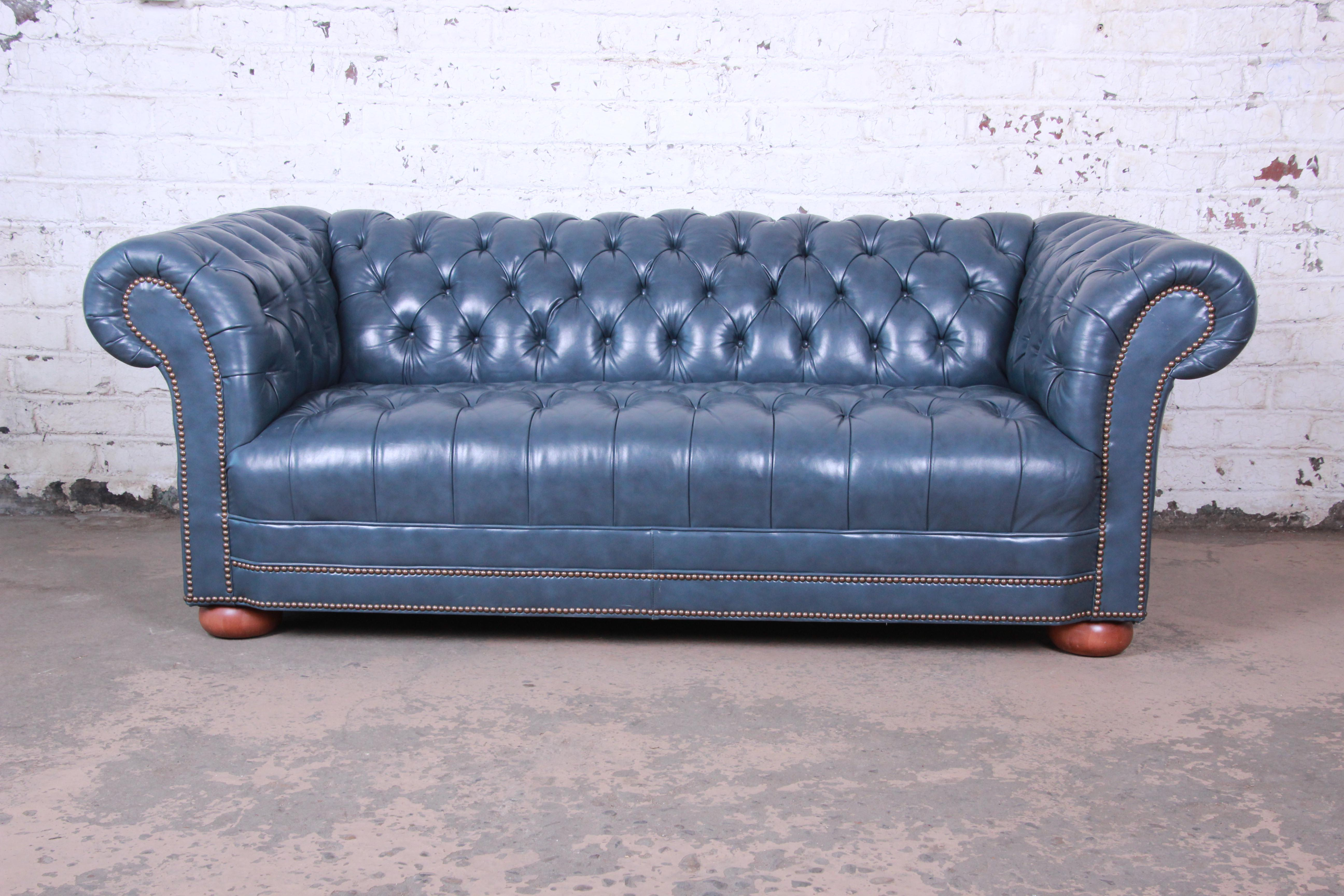 vintage tufted blue leather chesterfield sofa chairish rh chairish com chesterfield blue tufted leather sofa blue leather chesterfield sofa uk