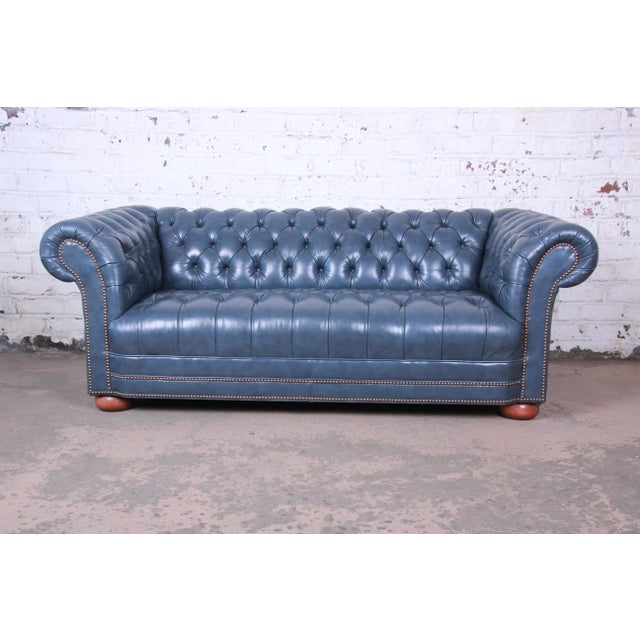 Vintage Tufted Blue Leather Chesterfield Sofa | Chairish