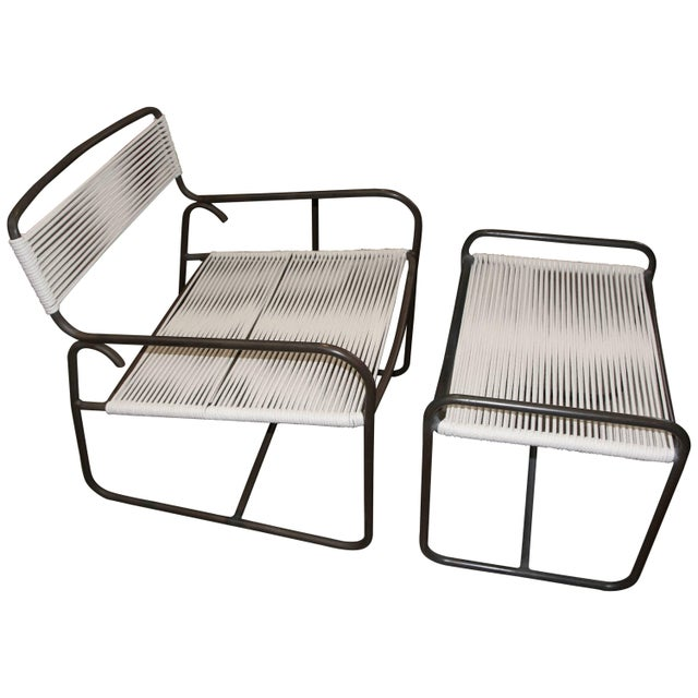 Metal Large Lounge Chair and Ottoman by Walter Lamb for Brown Jordan For Sale - Image 7 of 7