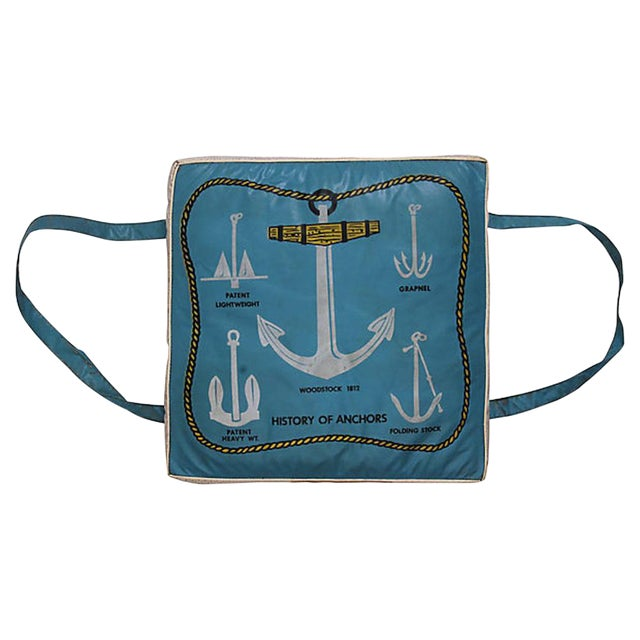 History of Anchors Vintage Boat Cushion For Sale