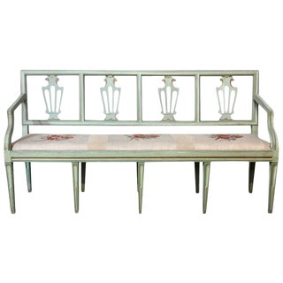 Bench, 19th Century Swedish Neoclassical Painted With Tapestry For Sale