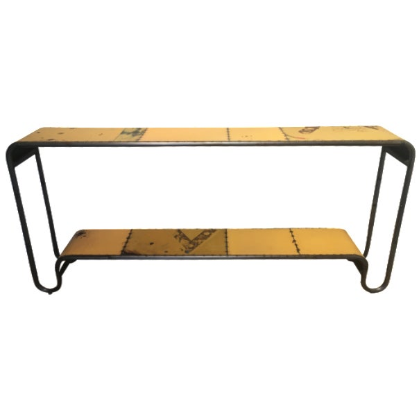 Industrial Salvaged Steel Console - Image 1 of 9