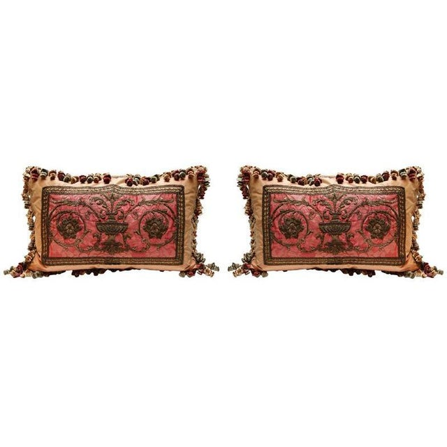 French Pair 18th C. French Metal Thread Fragment Pillows For Sale - Image 3 of 3