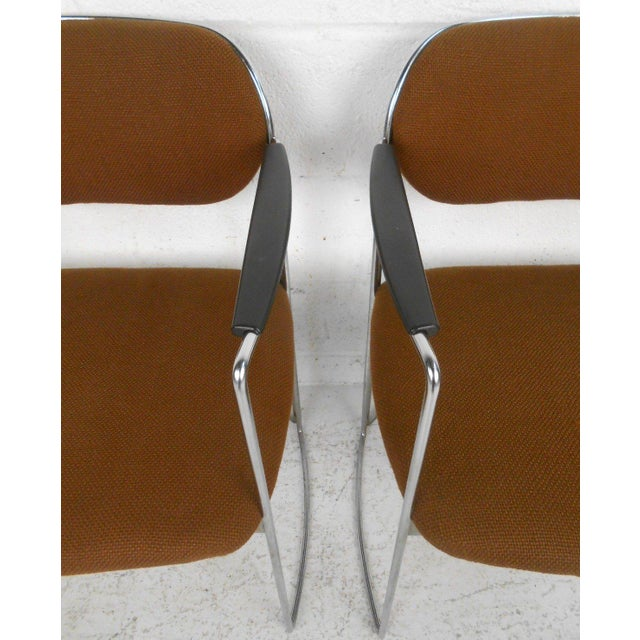 Mid-Century Chrome & Upholstery Office Armchairs - Set of 7 - Image 9 of 10