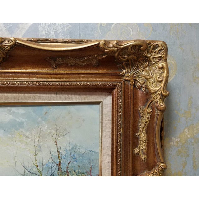 "20th Century ""Prominad"" Framed Oil On Canvas Painting by Marie Charlot For Sale In New York - Image 6 of 9"