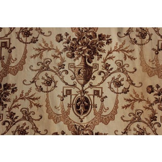 Antique 1860s French Neoclassical Printed Brown Toile Fabric Curtain For Sale