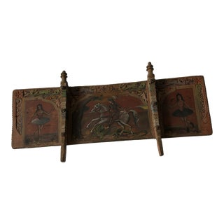 19th Century Vintage Sicilian Hand-Carved/Painted Wooden Donkey Cart Fragment For Sale
