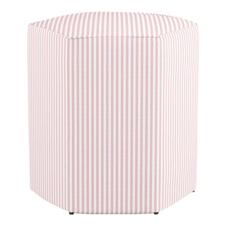 Hexagonal Ottoman in Pink Ticking Stripe For Sale
