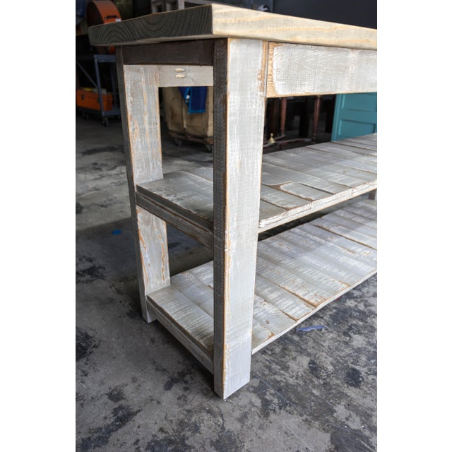 Gray Reclaimed Wood Console Two Shelf Table With Light Distress - Image 5 of 8