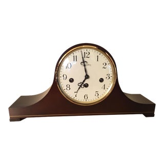 Hamilton Wood Tambour Camel Back Clock For Sale