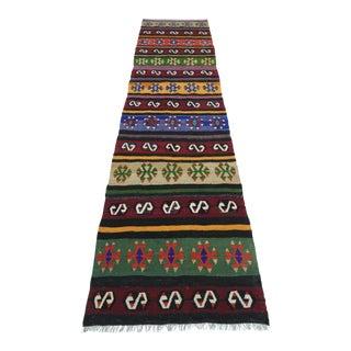 """Vintage Turkish Multicolor Kilim Runner-2'9'x10'7"""" For Sale"""