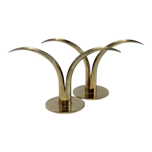 Mid-Century Swedish Brass Candlesticks - A Pair For Sale