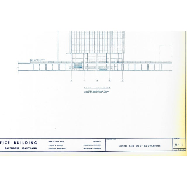 Ludwig Mies van der Rohe Mies Van Der Rohe Blueprint - One Charles Center, Baltimore 1961 - Elevations For Sale - Image 4 of 13