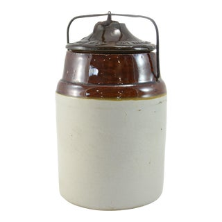 Antique Weir Two-Tone Stoneware Farmhouse Preserve Crock For Sale