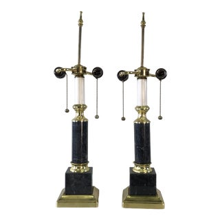 Vintage 1970s Brass & Marble Table Lamps, Pair For Sale