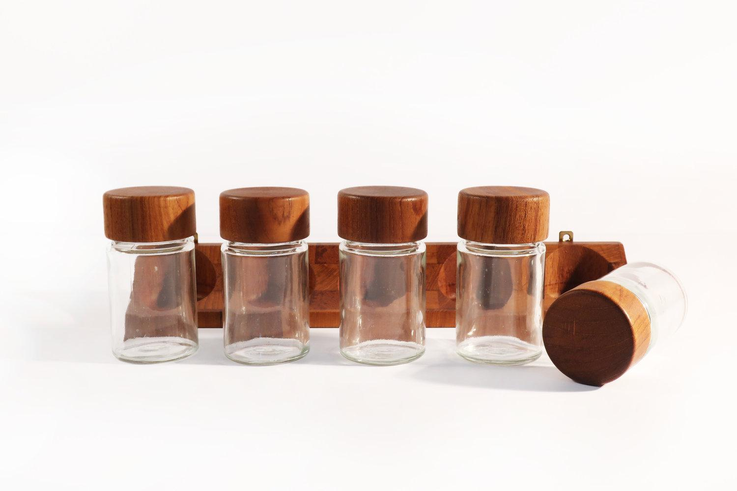 Digsmed Digsmed Danish Modern Teak Spice Rack U0026 Containers   Set Of 6 For  Sale
