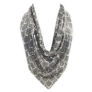 1970s Whiting & Davis Reversible Snakeskin & Silver Mesh Bib Necklace For Sale