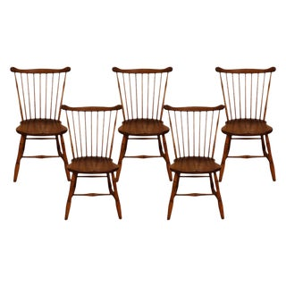 Five Stickley Fan Back Windsor Bamboo Turned Chairs For Sale