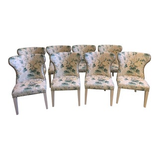 "As Seen on Bravo's ""Southern Charm""! 21st Century Althea Linen in Citron Upholstered Salon Wing Dining Chairs- Set of 8 For Sale"
