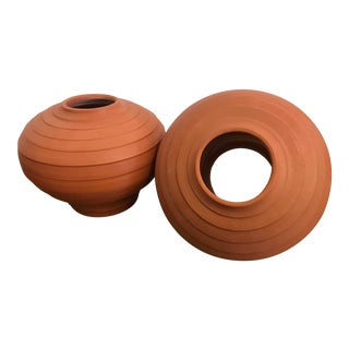 1980s Mid-Century Modern Terra Cotta Planters - a Pair For Sale