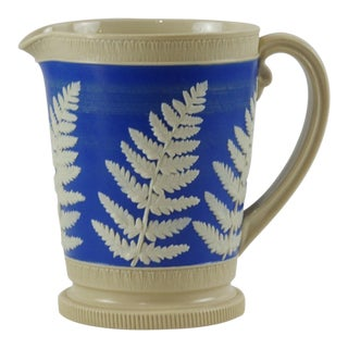 Royal Blue Fern Design Jasperware Pitcher by Copeland For Sale