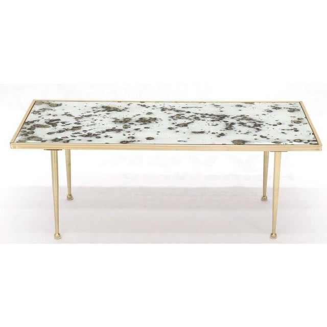 Small Italian Rectangular Coffee Table on Brass Legs Mirrored Top For Sale - Image 6 of 10