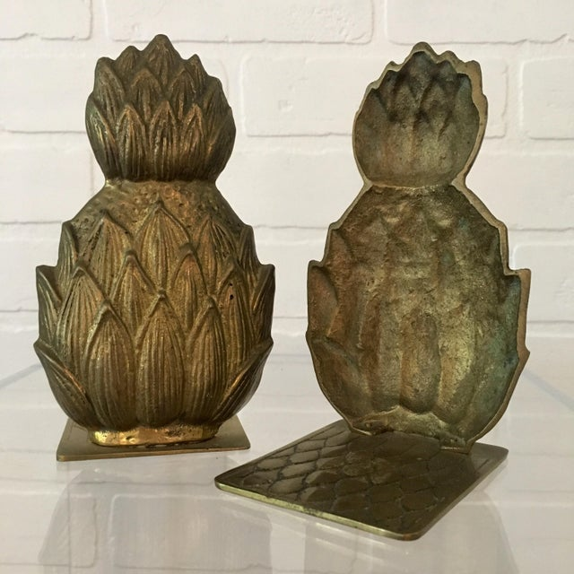 Pair of Mid-Century Brass Pineapple Bookends For Sale - Image 4 of 6