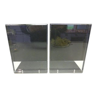 Mid Century Modern Vintage Lindahl Designs Winnetka Il Lucite Clear Rectangle Bookends - a Pair For Sale