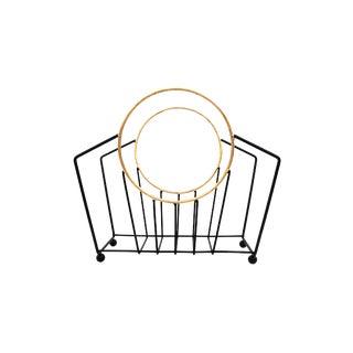 Art Deco Magazine Rack   Vintage Black & Gold Metal Book/Record Basket   Chic Mid-Century Functional Decor For Sale