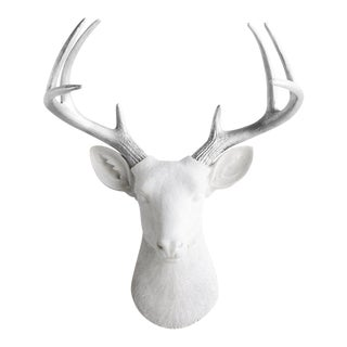 White & Silver Deer Wall Decor For Sale
