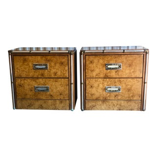 Chrome Trim Burl Wood Nightstands -A Pair For Sale