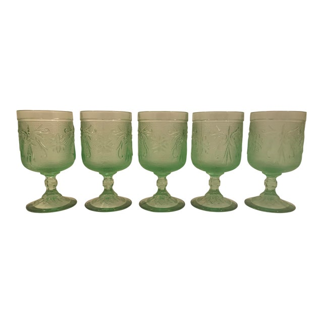 Rare Mint Green Tiara Glass Wine Goblets - Set of 5 For Sale