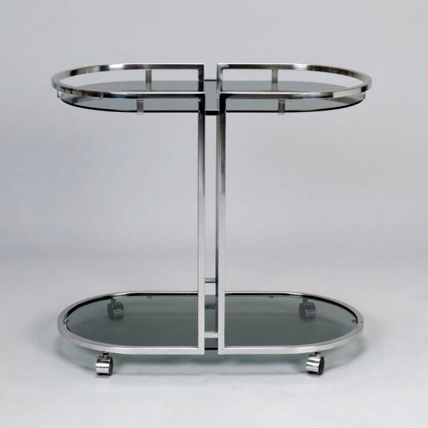 French Mid-Century Chrome and Glass Bar Trolley - Image 4 of 9