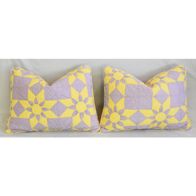 """Boho Chic Farmhouse Americana Patchwork Feather/Down Pillows 24"""" X 18"""" - Pair For Sale - Image 12 of 13"""