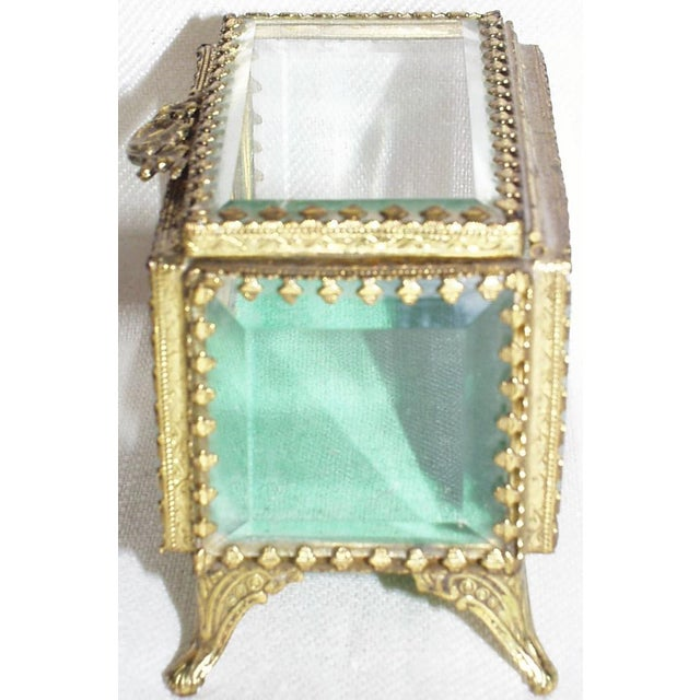 19th Century French Beveled Glass and Brass Jewel-Trinket Box For Sale - Image 4 of 9