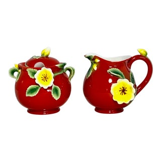 Savoy Manchu Rose Red Sculpted Porcelain Creamer & Sugar Jars For Sale