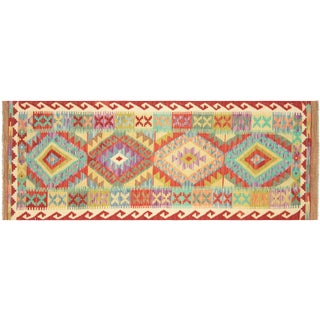 "Nalbandian - Contemporary Afghan Maimana Kilim - 2'6"" X 6'9"" For Sale"