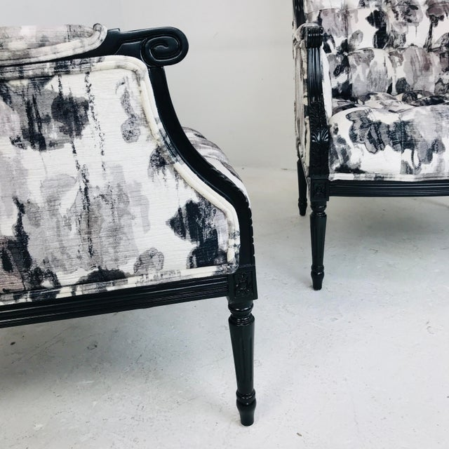 Contemporary Pair Black & White Watercolor Armchairs (4 Pairs Available) For Sale - Image 3 of 7