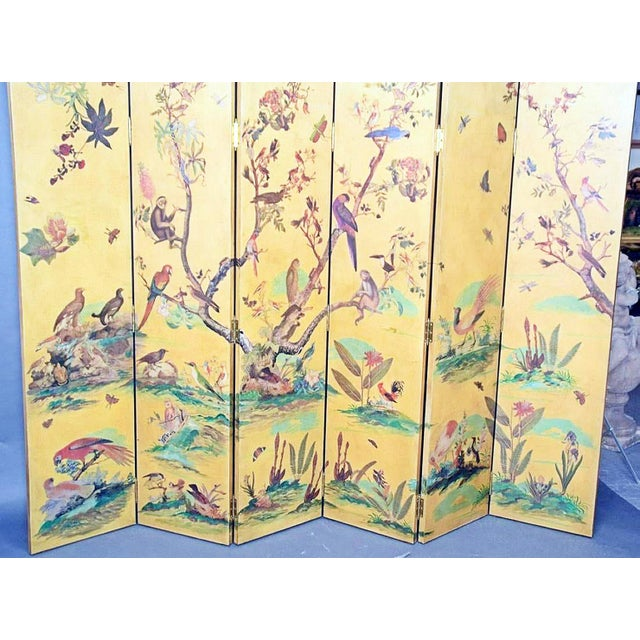 Large scale room dividing screen with bird and foliage decor on gilt background. craqueluer finish.